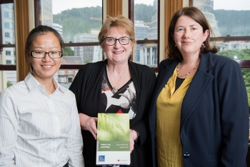 Photo of Dr Jessica Lai, Lynda Hagen, Director of NZ Law Foundation, and Professor Susy Frankel at the launch of the book Patent Law and Policy